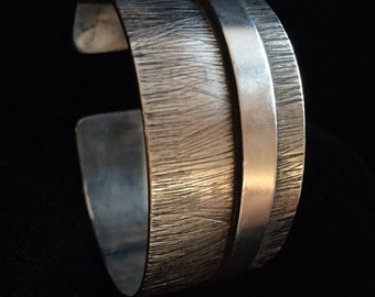 Cuff Bracelet | Silver Plated Cuff Bracelet | Modern Etched Design | Silver Cuff