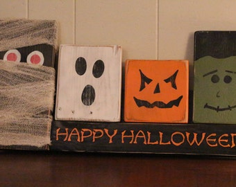 Happy Halloween sign, fall decor, halloween docor, gift idea, distressed, cottage chic, fall sign, pallet sign, mummy, pumpkin, ghost, frank