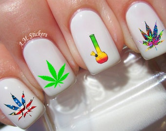 Marijuana nail art etsy 40 marijuana nail decals prinsesfo Image collections