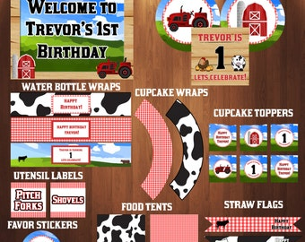 Farm Birthday Party Decorations, Farm Party Decorations, Farm Decorations, Barnyard Birthday, Tractor Birthday Decorations, Custom Name
