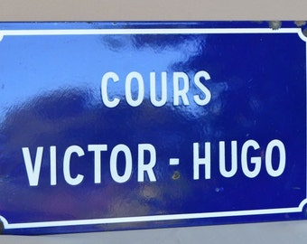 LARGE Enamel Street Sign Plaque Victor Hugo Avenue Cours, French Antique Enamelware Street