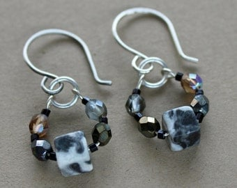 Sterling Silver Czech Crystal Black and White Earrings