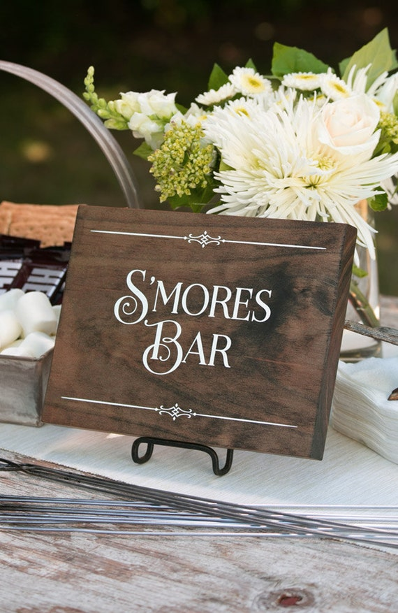 Rustic Chic Wedding S Mores Bar Wood Sign For