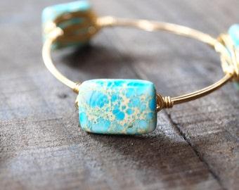 Blue Jasper Wire Wrapped Bracelet   Wire Bracelet   Wire Bangle   Wire Wrapped Bangle