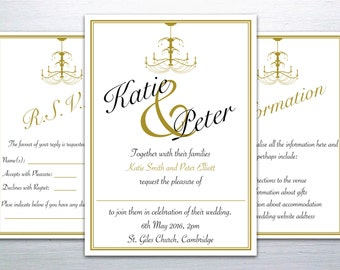 Printable Black and Gold Chandelier Wedding Invitation Set: Invitation with RSVP and Information Card