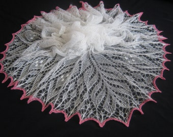 Hand Knitted Lace Kid-Mohair White Shawl. Free Shipping!