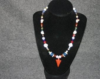 Red Arrowhead Beaded Necklace