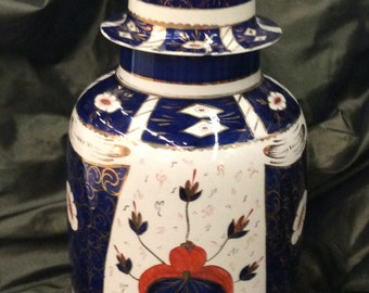 Large Lidded 19th Century Handmade and Hand Decorated Staffordshire Imari Jar, 15 Inches Tall