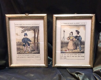 Framed Hand-enhanced Borghese, New York Prints for Nursery or Child's Room, c. 1968