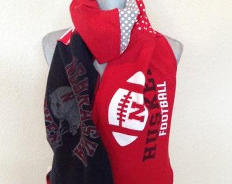 Nebraska Cornhuskers Tshirt Scarf, Huskers Spirit scarf, NEB7, Go Big Red