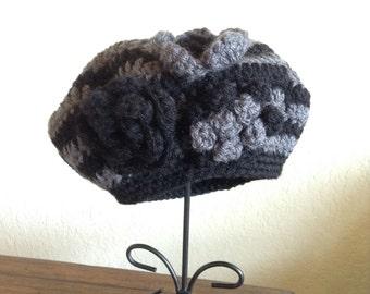 Girl's crocheted hat, knit hat, beret, slouchy hat, girls winter hat, C