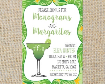 PRINTABLE Monograms and Margaritas Invitation