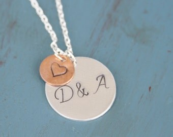 Couples Initial Hand Stamped Necklace
