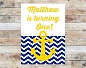 Birthday Invite - Chevron Nautical