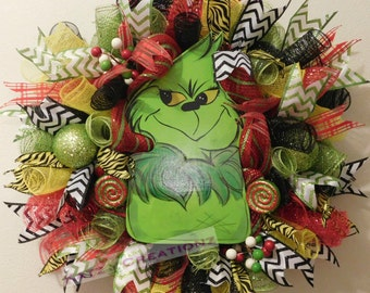 Grinch Christmas Wreath, Christmas Wreath, Grinch, Holiday, Door Hanger, Wall Decorations, Christmas, Holiday, Dr Seuss, Your aMean One