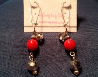 Red Agate and Smoke Crystal Dangle Earrings
