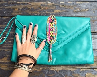 Vintage Turquoise upcycled clutch