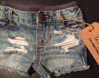 Distressed shorts for baby/toddler girls