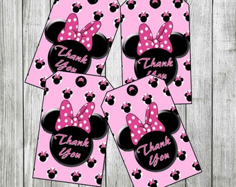 Minnie Mouse Thank you Tags, Favor Tags (Non-Personalized) PRINTABLE, INSTANT DOWNLOAD