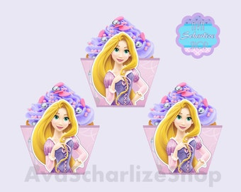 Princess RAPUNZEL Cupcake Wrappers, Cupcake Liners INSTANT DOWNLOAD