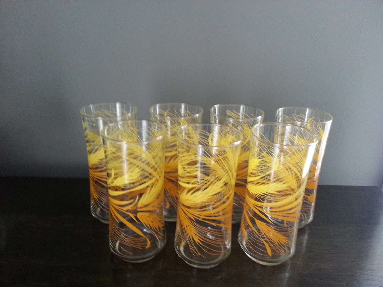 Libbey Autumn Wheat Drinking Glasses Set Of 7 Yellow Orange
