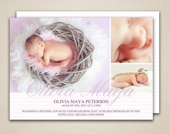Baby Girl Birth Announcement Postcard Template // Photoshop PSD // Pink