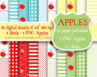 Digital Scrapbooking Paper, digital paper, fruit pattern, yellow, red, blue, green, digital clipart apples, Apple clipart, stripes plaid