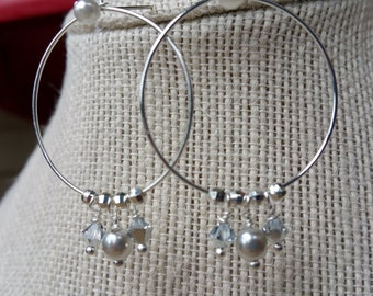 Silver Hoop Earrings with Crystal and Pearl Accents