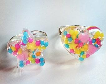 Colorful, ring, kawaii, resin, sugar, rabbit, flower, star, heart, sweet, pop kei,