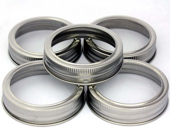 5 Stainless Steel Rust Proof Bands / Rings for Regular Mouth Mason, Ball, Canning Jars