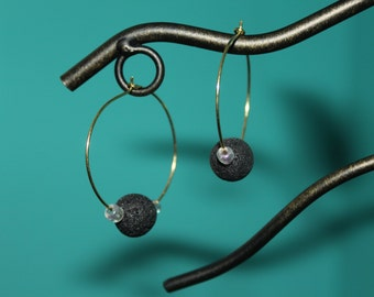 Black Lava and Seed Bead Gold Wire Hoop Earrings