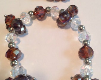 Brown Crystal Silver Bracelet and Earring Set -L48