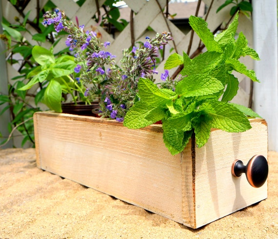 Items Similar To Cedar Herb Planter Box Indoor Planter