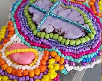 Vibrant and Colorful Beaded Nugget Bracelet