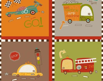 Riley Blake On Our Way Collection - On Our Way Car's Main Brown Fabric Panel Brown fabric sale Juvenile