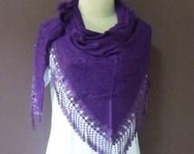 Triangle scarf purple violet shawl 57 x 27 inch **lace shawl **women scarf **winter shawl