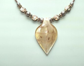 Hand-Blown Glass Necklace, Pendant and Earrings Matched Jewelry Set