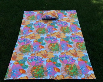 Tropical Beach Blanket with Pillow