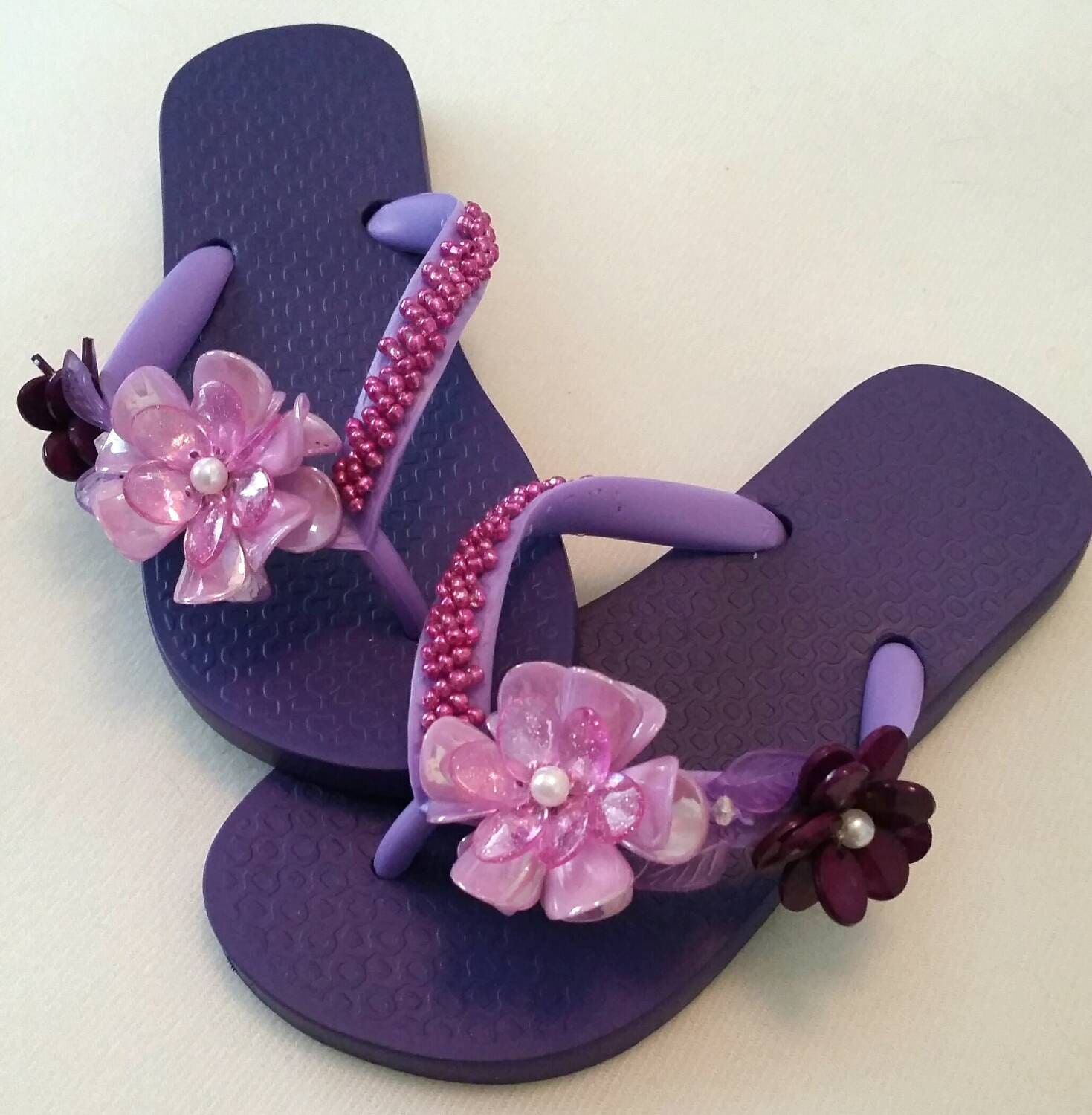 Lilac Purple Floral Flip Flops Custom Made Little By Sunnpraia-4482