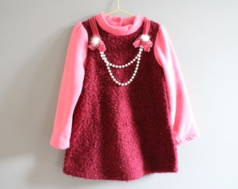 Burgundy knitted combined  pearl velvet pom pom necklace long sleeves fleece girl dress/ tunic 3 to 5 years old