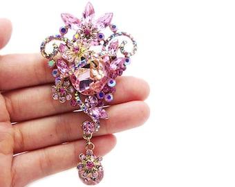 Vintage Brooch Black Crystal Pin Brooch