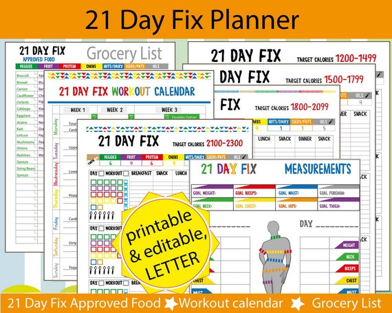 21 Day Fix Tracker 21 DAY FIX workout by TatDigitalCreativity