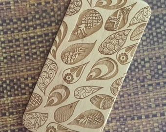 Hand Drawn Pineapple Paisley Zentangle Doodle Inspired Pattern Laser Engraved on Wood Cell phone Case for iPhone 5/S, 6/S and 6 plus IP-027