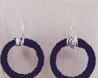 black velvet large hoop earrings