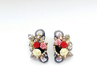 Handmade floral earrings with swarovski crystals