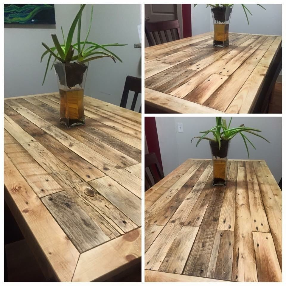 Reclaimed Pallet Wood Dining Room Table Clear Stain
