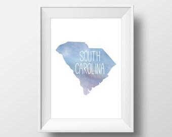 South Carolina State Blue Watercolor Printable Art, South Carolina State Print, South Carolina Art, Modern Art,
