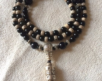 Mala Necklace, 108 Mala Beads, Wrist Wrap Mala, Obsidisn, Lotus Seed, Prayer Bead, Tibetan Mala, Yoga Mala, Buddhist Mala Bead, Japa Mala