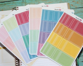 40 Colorful Box Stickers (with choice of 3 different color schemes) for your Erin Condren Life Planner