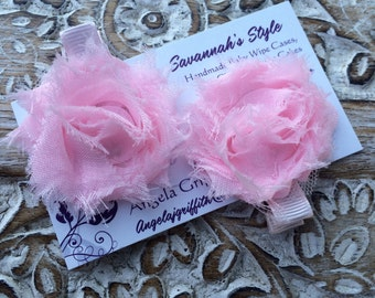 Pink Mini Shabby Chic Hair Clip - SET OF 2